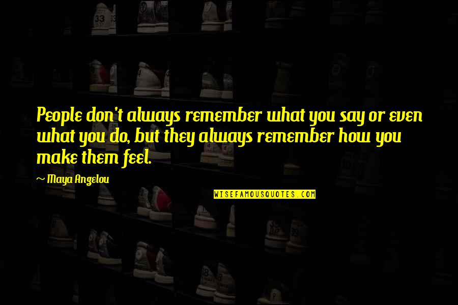 Remember You Always Quotes By Maya Angelou: People don't always remember what you say or
