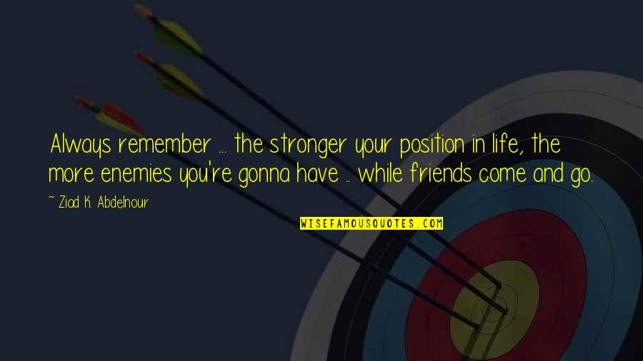 Remember You Always Quotes By Ziad K. Abdelnour: Always remember ... the stronger your position in