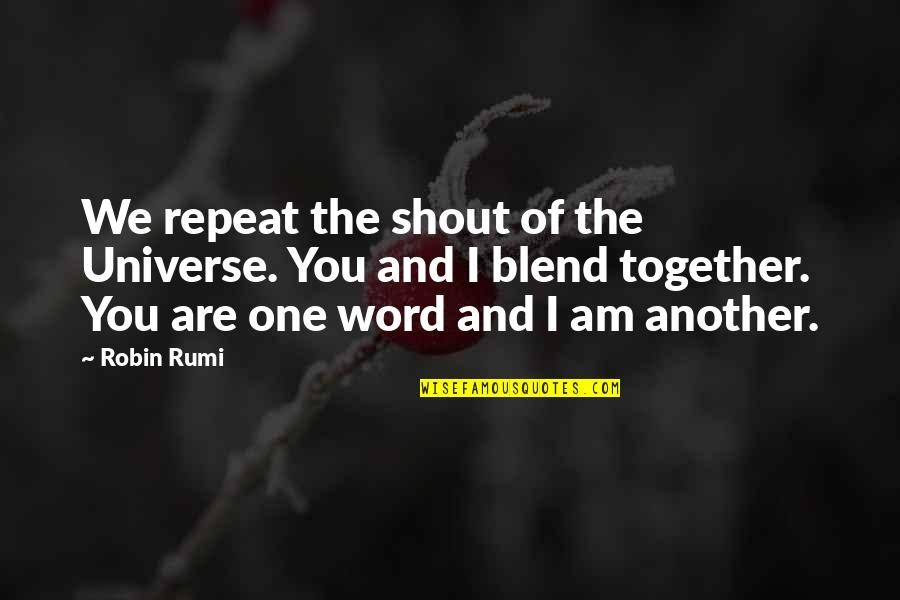 Remembering To Have Fun Quotes By Robin Rumi: We repeat the shout of the Universe. You