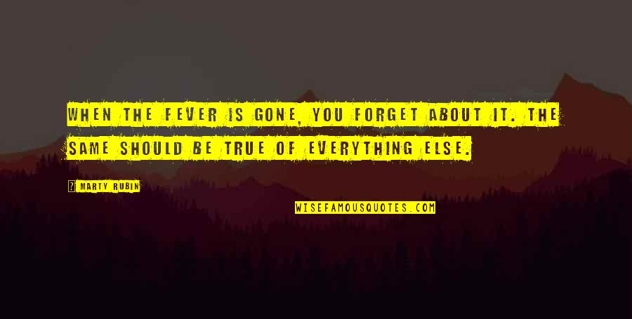 Remembering You Quotes By Marty Rubin: When the fever is gone, you forget about