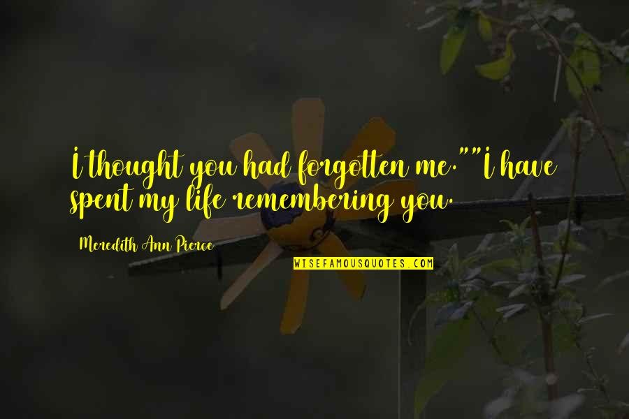 "Remembering You Quotes By Meredith Ann Pierce: I thought you had forgotten me.""""I have spent"