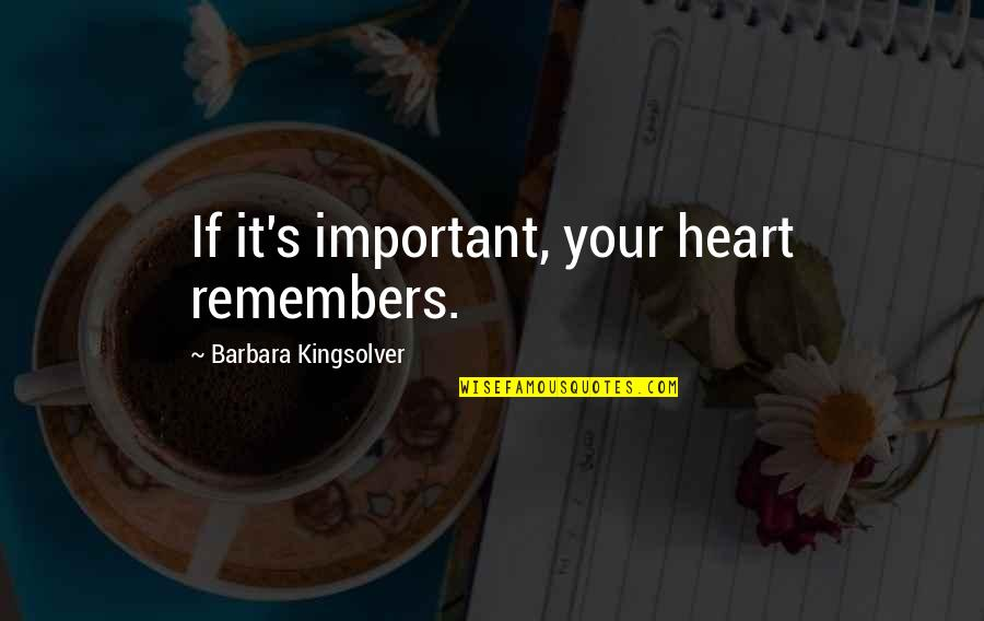 Remembers Quotes By Barbara Kingsolver: If it's important, your heart remembers.