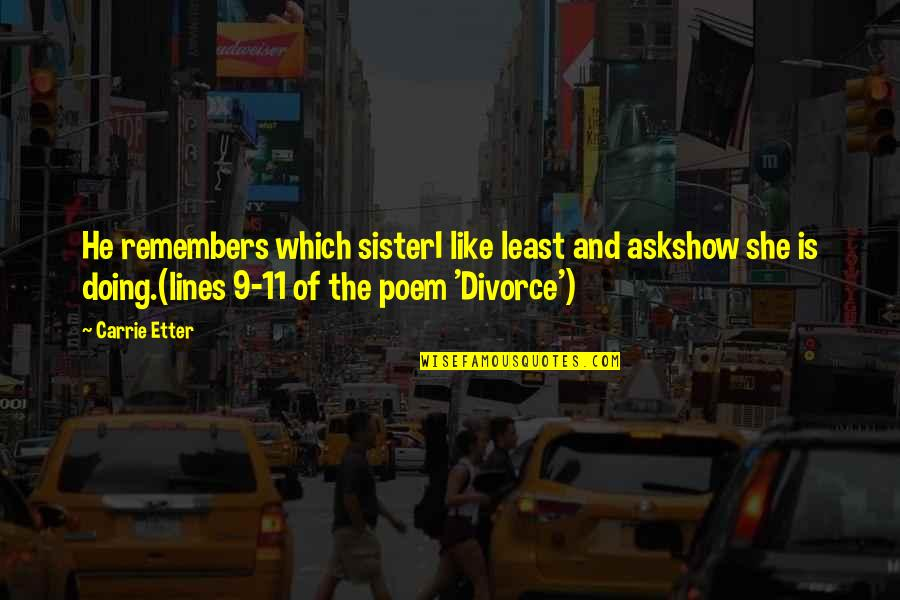 Remembers Quotes By Carrie Etter: He remembers which sisterI like least and askshow