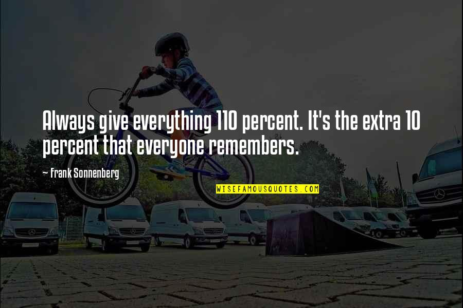 Remembers Quotes By Frank Sonnenberg: Always give everything 110 percent. It's the extra