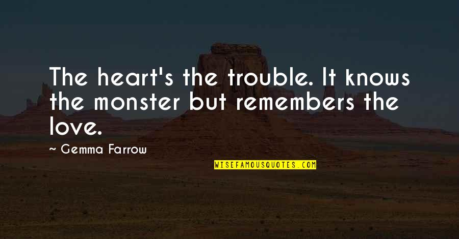 Remembers Quotes By Gemma Farrow: The heart's the trouble. It knows the monster