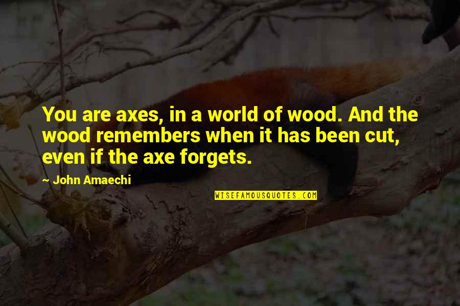 Remembers Quotes By John Amaechi: You are axes, in a world of wood.