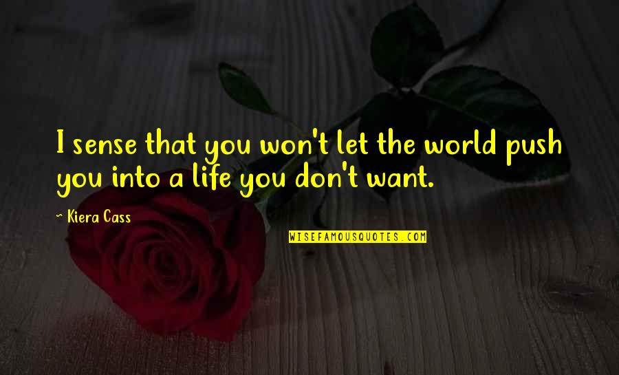 Ren Salvador Quotes By Kiera Cass: I sense that you won't let the world