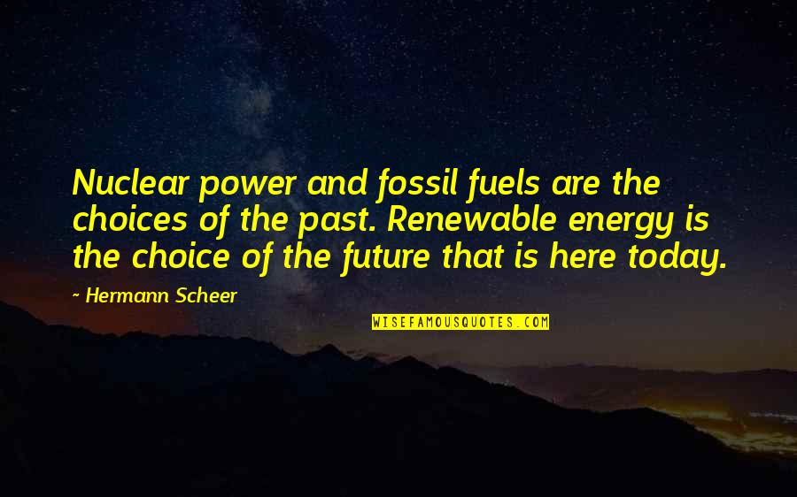 Renewable Energy Future Quotes By Hermann Scheer: Nuclear power and fossil fuels are the choices