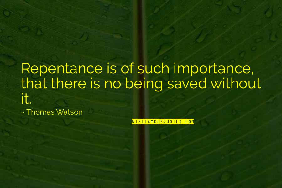 Repentance Quotes By Thomas Watson: Repentance is of such importance, that there is