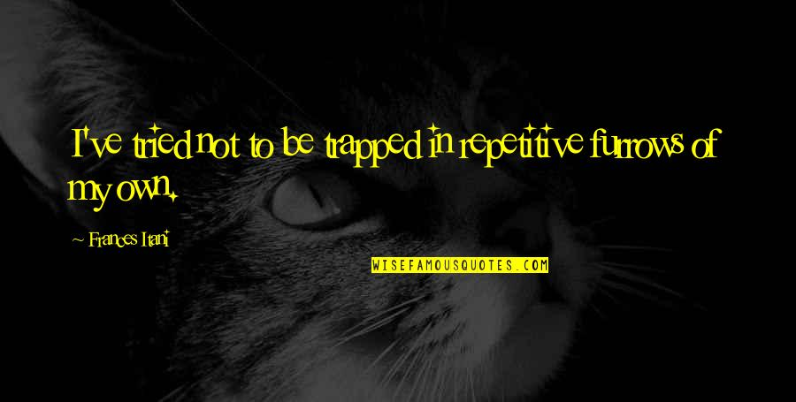 Repetitive Quotes By Frances Itani: I've tried not to be trapped in repetitive