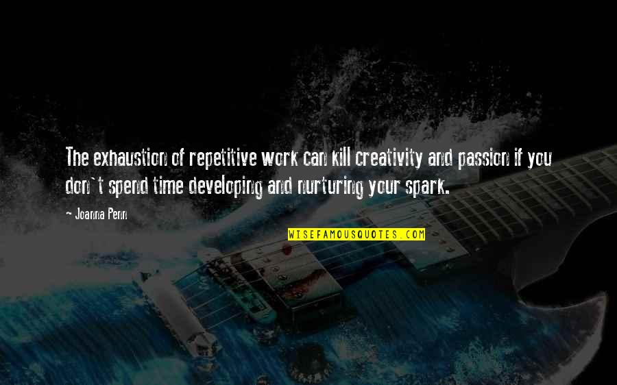 Repetitive Quotes By Joanna Penn: The exhaustion of repetitive work can kill creativity