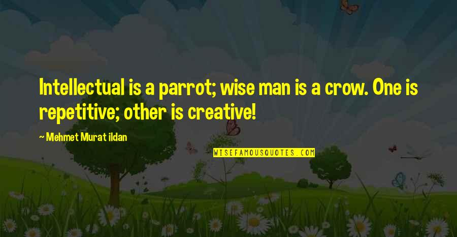 Repetitive Quotes By Mehmet Murat Ildan: Intellectual is a parrot; wise man is a