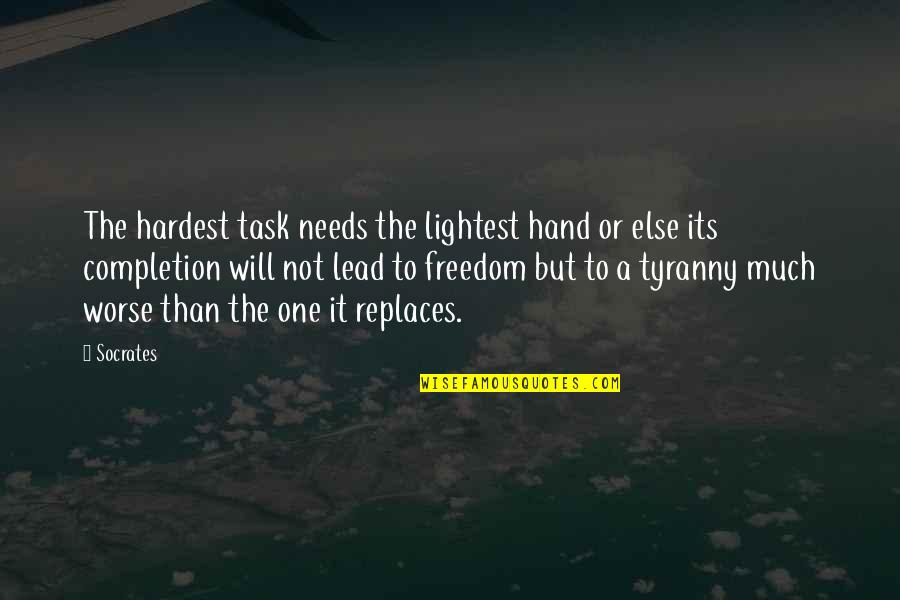 Replaces Quotes By Socrates: The hardest task needs the lightest hand or