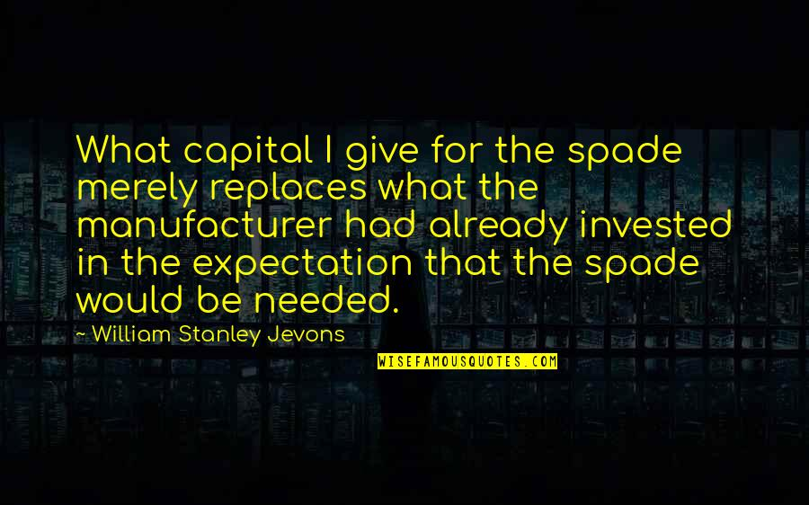 Replaces Quotes By William Stanley Jevons: What capital I give for the spade merely