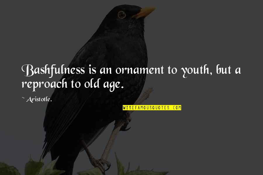 Reproach Quotes By Aristotle.: Bashfulness is an ornament to youth, but a