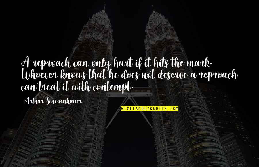 Reproach Quotes By Arthur Schopenhauer: A reproach can only hurt if it hits