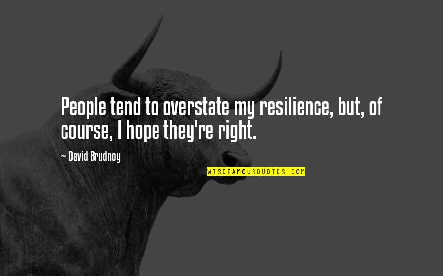 Resilience Quotes By David Brudnoy: People tend to overstate my resilience, but, of