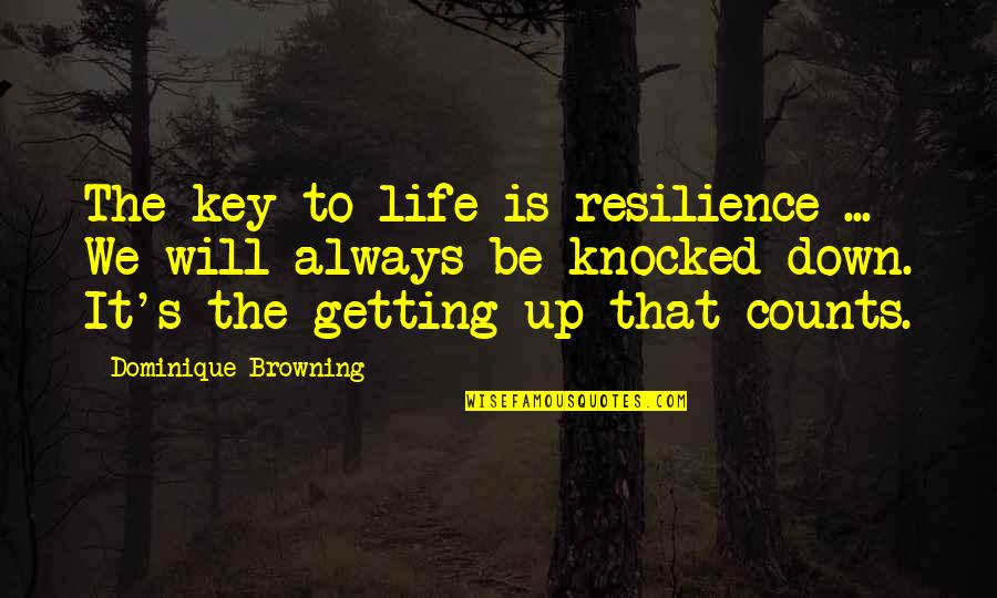 Resilience Quotes By Dominique Browning: The key to life is resilience ... We