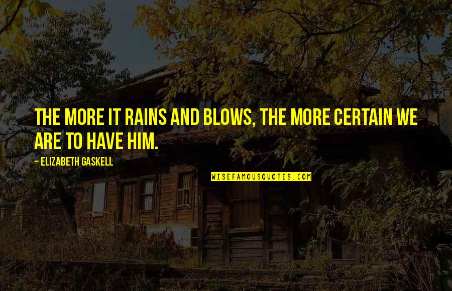Resilience Quotes By Elizabeth Gaskell: The more it rains and blows, the more