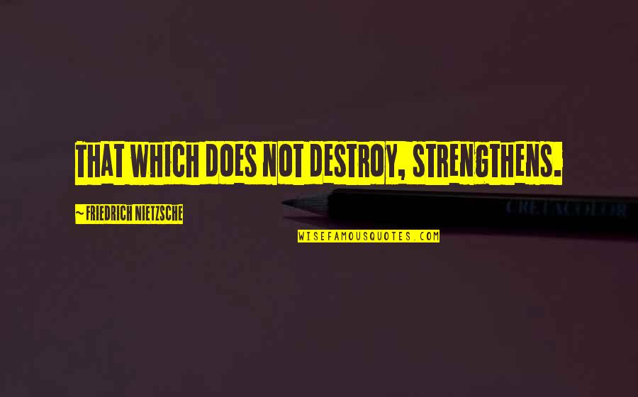 Resilience Quotes By Friedrich Nietzsche: That which does not destroy, strengthens.