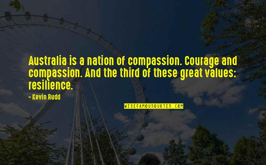 Resilience Quotes By Kevin Rudd: Australia is a nation of compassion. Courage and