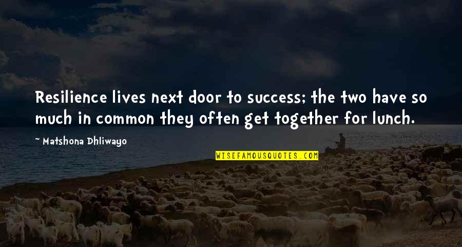 Resilience Quotes By Matshona Dhliwayo: Resilience lives next door to success; the two