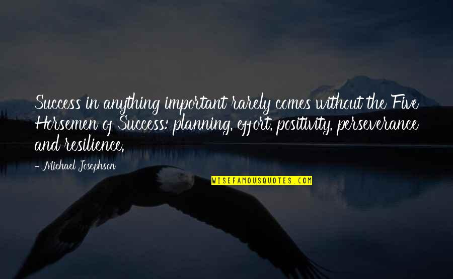 Resilience Quotes By Michael Josephson: Success in anything important rarely comes without the