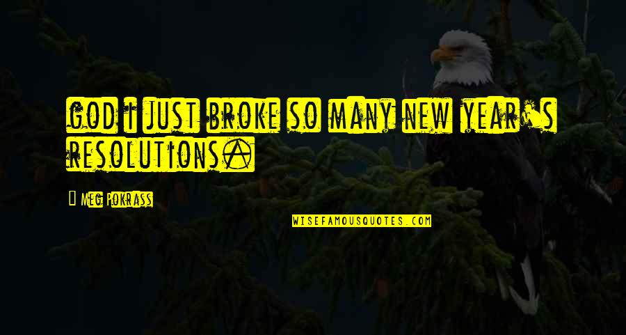 Resolutions Quotes By Meg Pokrass: god i just broke so many new year's