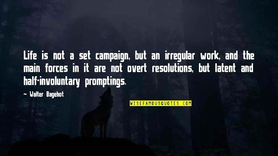Resolutions Quotes By Walter Bagehot: Life is not a set campaign, but an