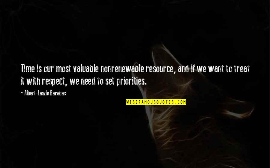 Resource Management Quotes By Albert-Laszlo Barabasi: Time is our most valuable nonrenewable resource, and