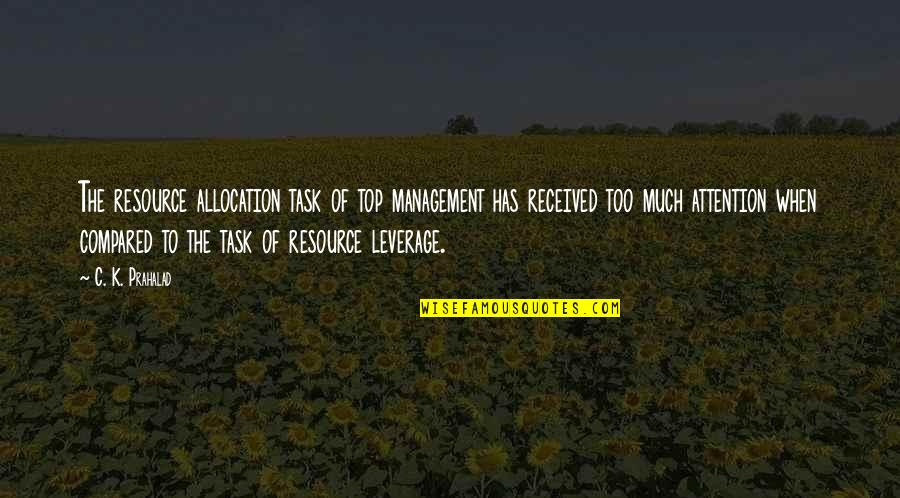 Resource Management Quotes By C. K. Prahalad: The resource allocation task of top management has