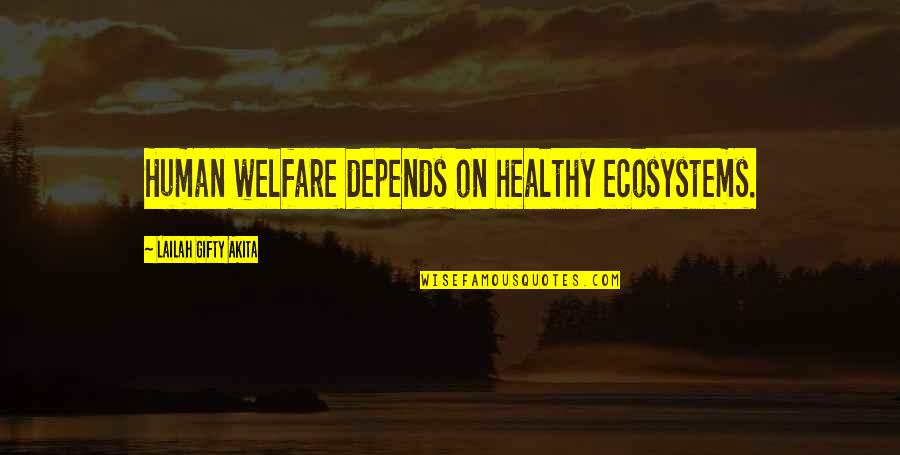 Resource Management Quotes By Lailah Gifty Akita: Human welfare depends on healthy ecosystems.