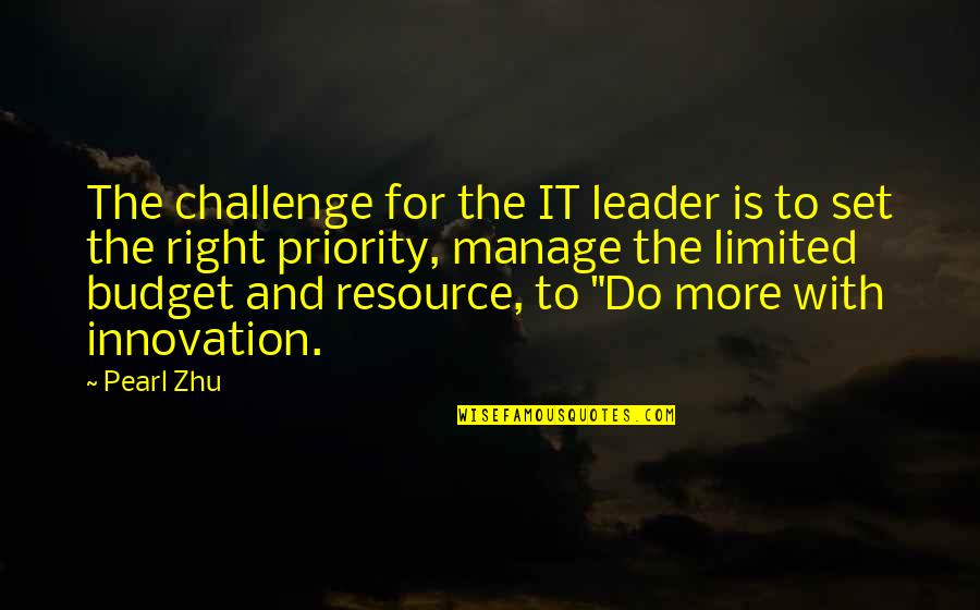 Resource Management Quotes By Pearl Zhu: The challenge for the IT leader is to