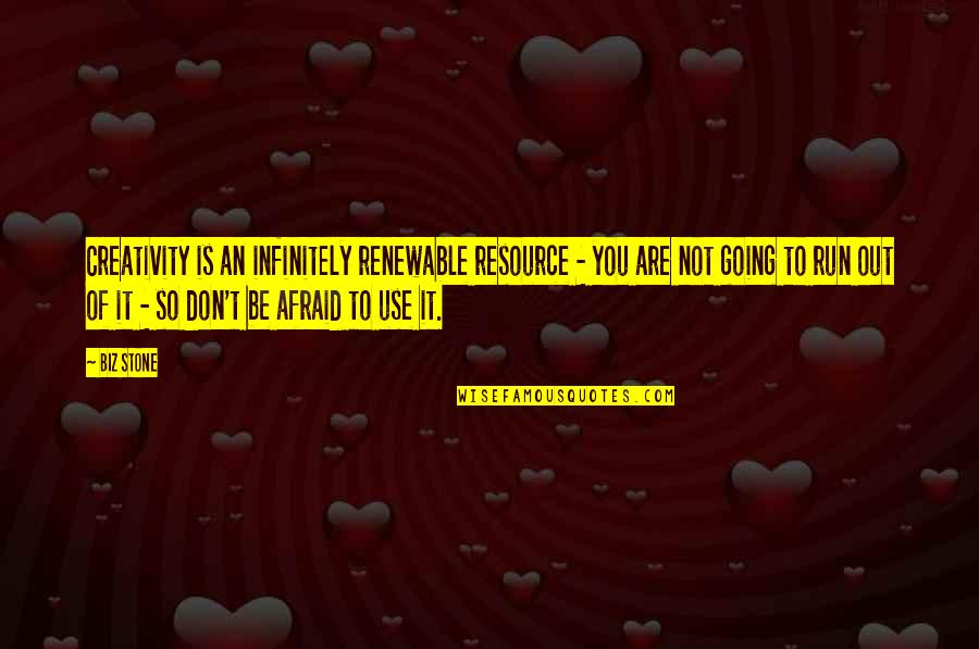 Resource Use Quotes By Biz Stone: Creativity is an infinitely renewable resource - you
