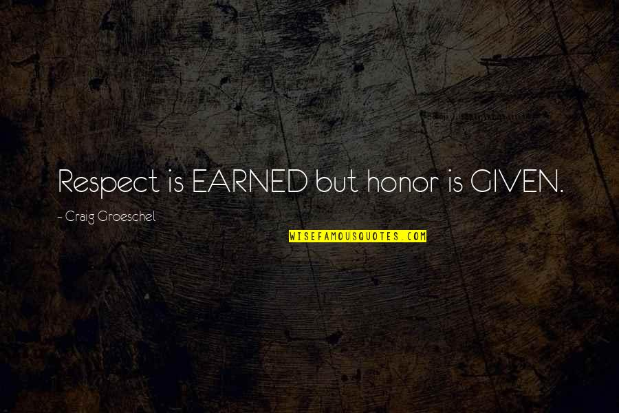 Respect Given Quotes By Craig Groeschel: Respect is EARNED but honor is GIVEN.