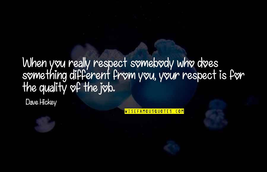Respect Job Quotes By Dave Hickey: When you really respect somebody who does something