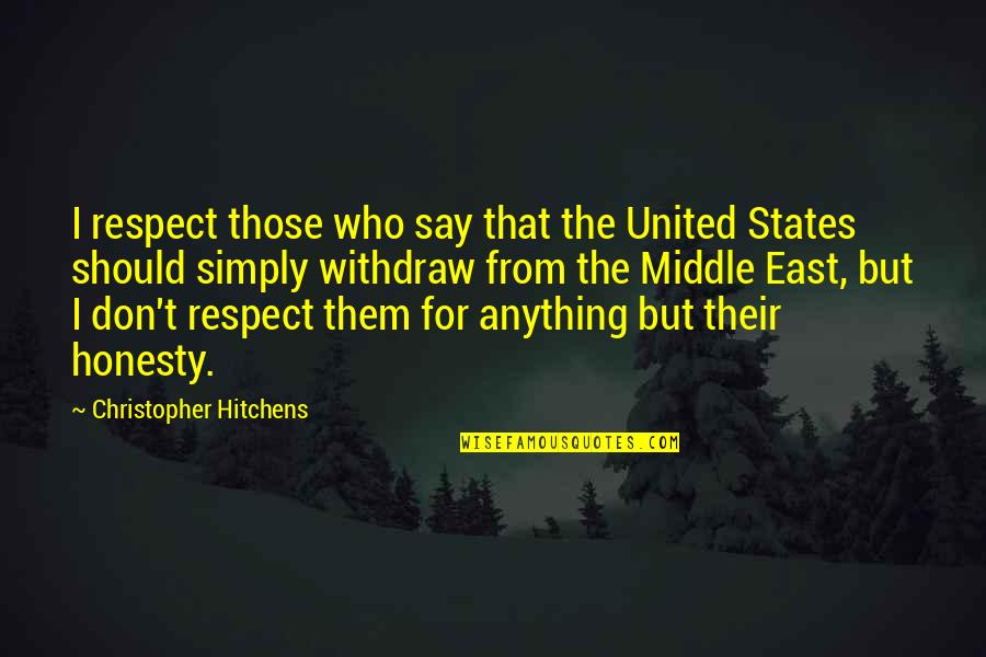 Respect Who You Are Quotes By Christopher Hitchens: I respect those who say that the United