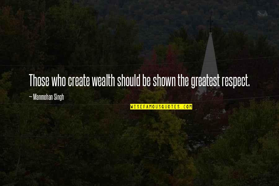 Respect Who You Are Quotes By Manmohan Singh: Those who create wealth should be shown the