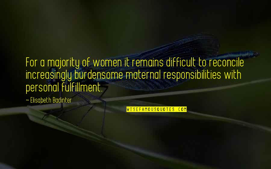 Responsibilities Quotes By Elisabeth Badinter: For a majority of women it remains difficult