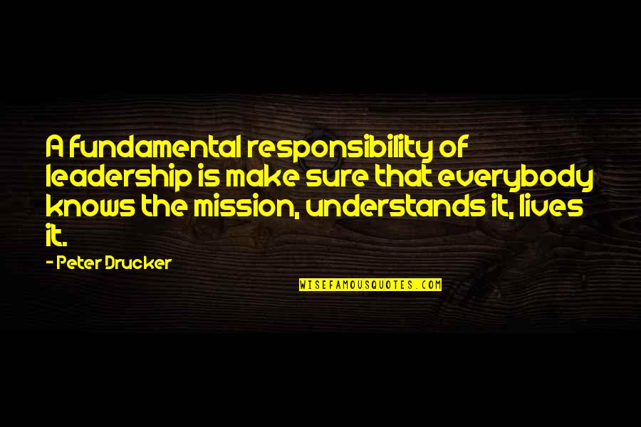 Responsibility Of Leadership Quotes By Peter Drucker: A fundamental responsibility of leadership is make sure