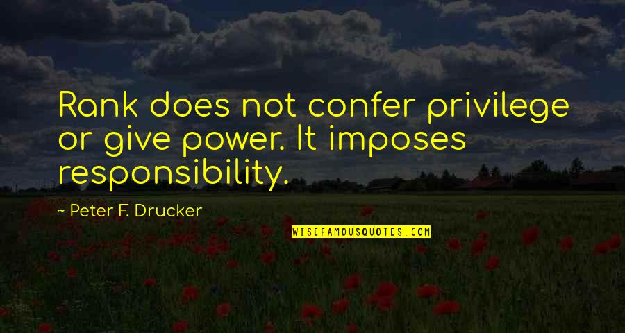 Responsibility Of Leadership Quotes By Peter F. Drucker: Rank does not confer privilege or give power.
