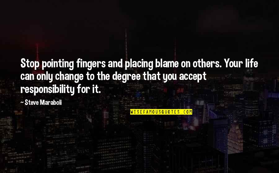 Responsibility To Others Quotes By Steve Maraboli: Stop pointing fingers and placing blame on others.