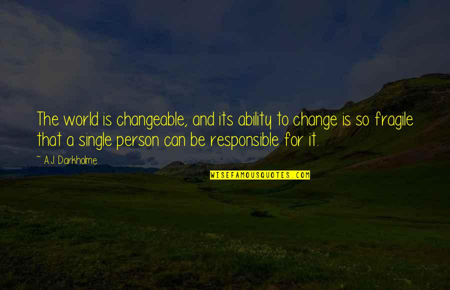 Responsible Your Own Actions Quotes By A.J. Darkholme: The world is changeable, and its ability to