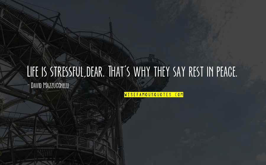 Rest In Peace Life Quotes By David Mazzucchelli: Life is stressful,dear. That's why they say rest