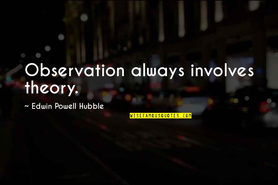 Rest In Peace Life Quotes By Edwin Powell Hubble: Observation always involves theory.