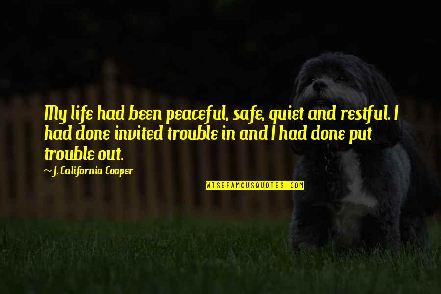 Restful Quotes By J. California Cooper: My life had been peaceful, safe, quiet and