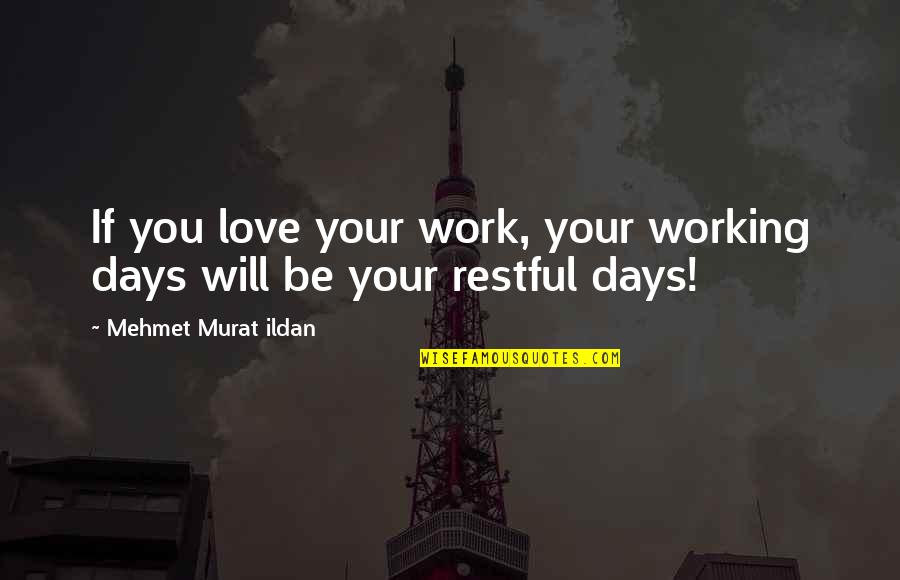 Restful Quotes By Mehmet Murat Ildan: If you love your work, your working days