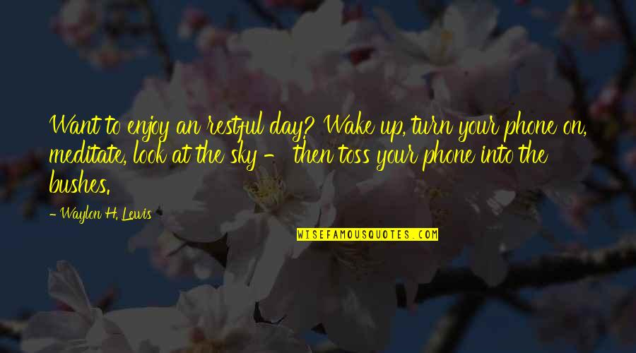 Restful Quotes By Waylon H. Lewis: Want to enjoy an restful day? Wake up,