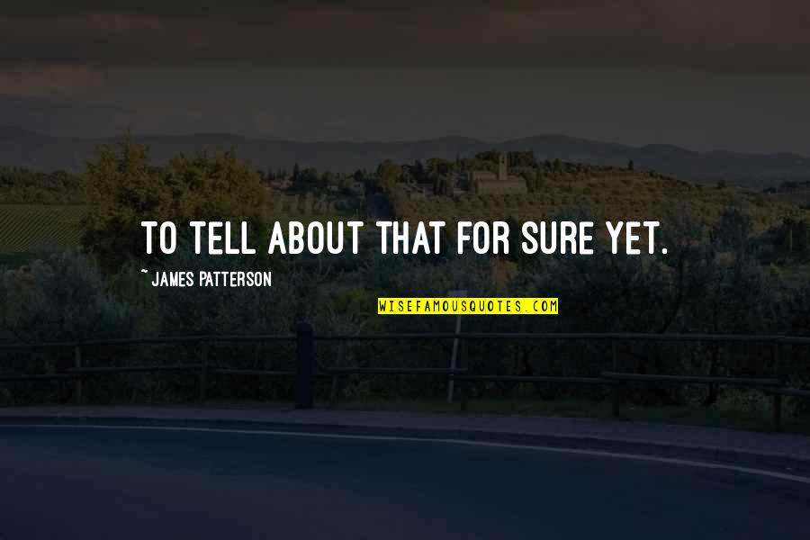 Restoration In Relationships Quotes By James Patterson: to tell about that for sure yet.