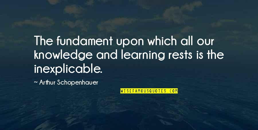 Rests Quotes By Arthur Schopenhauer: The fundament upon which all our knowledge and